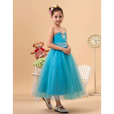 Luxury Beaded Crystal A-line Sweetheart Tea Length Satin Tulle Little Girls Party Dresses