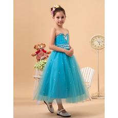 Luxury Beaded Crystal A-line Sweetheart Tea Length Satin Tulle Little Girls Party Dresses