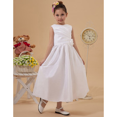 Discount A-line Bateau Taffeta Tea Length Taffeta White First Holy Communion Dresses with Ruching
