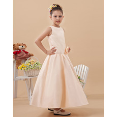 Simple A-Line Bateau Neck Ankle Length Satin Flower Girl Dresses with Hand Made Flower