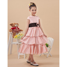 Cute A-line Bateau Neck Cap Sleeves Tea Length Layered Skirt Flower Girl Dresses for Spring