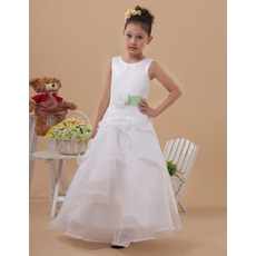 Inexpensive A-Line Round Neck Sleeveless Ankle Length Organza White First Communion Dresses with Front Layered Skirt