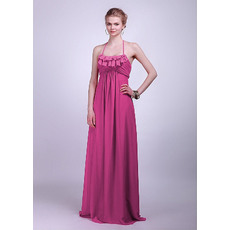 Simple Halter Empire Chiffon Floor Length Bridesmaid Dresses