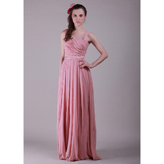 Discount Pleated Chiffon Column Straps Floor Length Bridesmaid Dresses