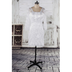 Custom Sheath Lace Short Petite Wedding Dresses with 3/4 Sleeves