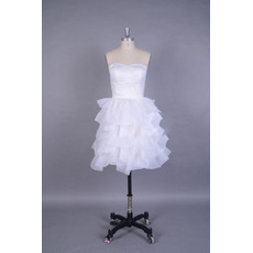 Custom Simple Sweetheart Short Wedding Dresses with Tiered Organza Skirt