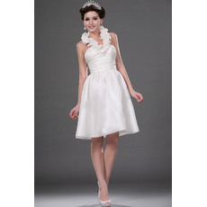 Beautiful Ruffled Halter-Neck Reception Satin Wedding Dresses