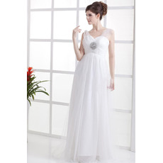 Affordable Elegant Floor Length Tulle Wedding Dresses with Wide Illusion Shoulder Straps