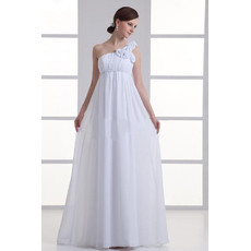 Vintage Empire Full Length Chiffon Maternity Wedding Dresses with One Shoulder Flower Strap/ Romantic White Pleated Bride Gowns