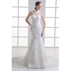 Custom Mermaid High-Neck Court Train Satin Tulle Wedding Dresses