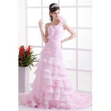Beautiful Ruffled One Shoulder Ruching Organza Pink Wedding Dress with Tiered Skirt