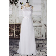 Affordable Column Round Neck Floor Length Chiffon Wedding Dresses