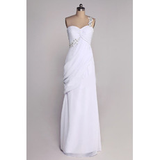 Discount Beading Appliques One Shoulder Chiffon Wedding Dresses with Asymmetrical Pleated