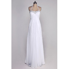 Fall Sheath/ Column Halter Floor Length Chiffon Wedding Dresses