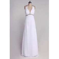 Sexy V-neck Sweetheart Column/ Sheath Sweetheart Floor Length Chiffon Wedding Dresses