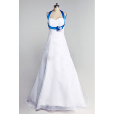 Inexpensive A-Line Blue Halter Floor Length Satin Wedding Dresses