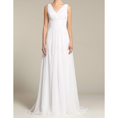 Affordable Sheath V-Neck Sleeveless Floor Length Chiffon Wedding Dresses
