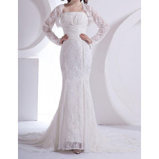 Elegant Mermaid Court Train Lace Chiffon Wedding Dresses with Jackets