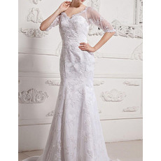 Discount Sheath Court Train Lace Wedding Dresses with Half Sleeves