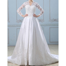 Vintage A-Line V-Neck Chapel Train Wedding Dresses with Long Sleeves
