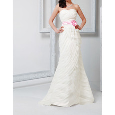 Inexpensive Sheath Sweetheart Floor Length Pleated Wedding Dresses with Sashes