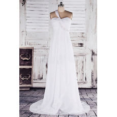 2018 Classy Empire Waist One Shoulder Sweep Train Chiffon Wedding Dresses