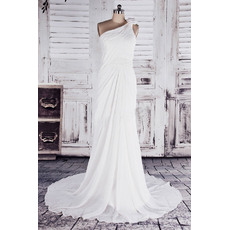 Custom Elegant Sheath One Shoulder Court Train Chiffon Wedding Dresses
