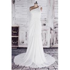 Simple Elegant Sheath One Shoulder Court Train Chiffon Wedding Dresses