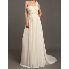 Fabulous Empire One Shoulder Court Train Floor Length Chiffon Empire Wedding Dresses