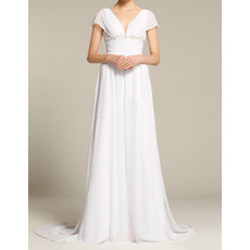 Elegant Column V-Neck Cap Sleeves Sweep Train Floor Length Chiffon Empire Wedding Dresses