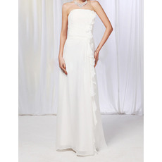 Inexpensive Column Strapless Floor Length Chiffon Ruffle Wedding Dresses