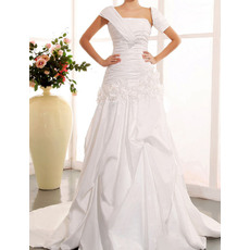 Fashionable Asymmetrical Shoulder Court Train Taffeta Wedding Dresses with 3D Flowers