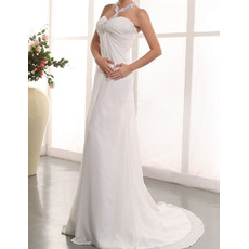 2016 Sexy Sheath Halter Court TrainChiffon Wedding Dresses/ Gorgeous Beaded Neck Ruched Bodice Beach Bride Gowns