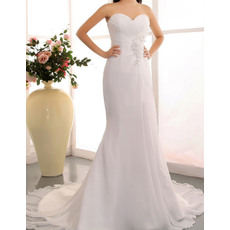 Europe Sheath Sweetheart Chapel Train Chiffon Wedding Dresses