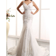 Custom Sheath Spaghetti Straps Court Train Tulle Wedding Dresses