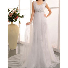 Elegant Sheath Straps Sweep Train Tulle Satin Wedding Dresses