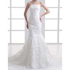 Modern Mermaid Strapless Court Train Lace Wedding Dresses