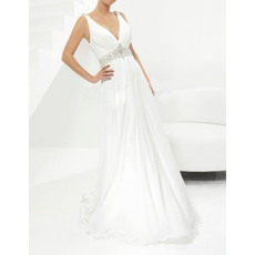Designer Sexy Sheath V-Neck Sweep Train Chiffon Wedding Dresses