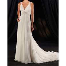 Sexy Sheath Double V-Neck Court Train Chiffon Wedding Dresses with Beaded Appliques Detail