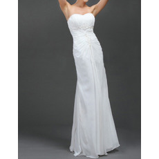 Vintage Sheath Sweetheart Floor Length Chiffon Wedding Dresses