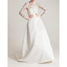 Retro A-Line Chapel Train Satin Wedding Dresses with Lace Sleeves