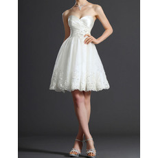 Charming Sweetheart Short Satin Bodice Wedding Dresses with Beaded Applique Tulle Skrit