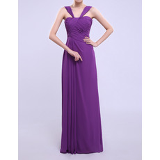 Discount Column/ Sheath Straps Long Chiffon Bridesmaid Dresses with Side-draped