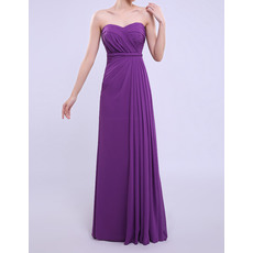 Elegant Column/ Sheath Empire Sweetheart Long Chiffon Bridesmaid Dresses with Side-draped