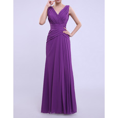 Vintage Column/ Sheath V-Neck Long Chiffon Bridesmaid Dresses with Side-draped