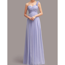 Stylish Ruffled One Shoulder Sweetheart Sweep Train Chiffon Bridesmaid Dresses