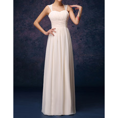 Stylish Column/ Sheath Straps Long Chiffon Bridesmaid Dresses with Open Back
