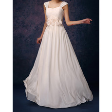 Charming Straps Long Lace Detail Pleated Chiffon Bridesmaid Dresses with 3D Flowers