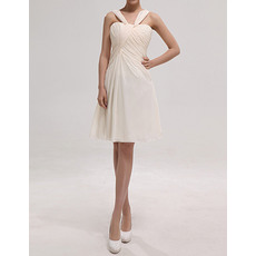 Discount Simple Straps Sleeveless Knee Length Ruched Chiffon Bridesmaid Dresses Under 100
