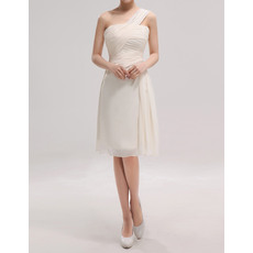 Discount One Shoulder Sleeveless Knee Length Chiffon Bridesmaid Dresses with Ruched-Bodice